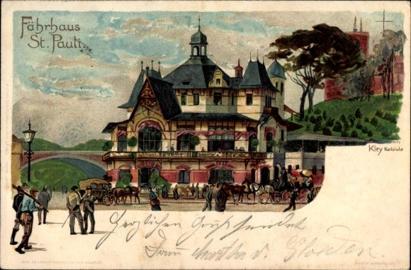 Künstler Litho Kley, Heinrich, Hamburg St. Pauli, Blick auf das Fährhaus, Pferdekutschen