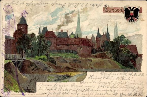 Künstler Litho Kley, Heinrich, Lübeck in Schleswig Holstein, Panorama der Stadt, Wappen