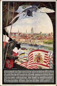 Künstler Wappen Ak Honegger, Max, Hansestadt Bremen, Stadtpanorama, Taube, Adler, Fahne