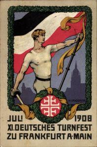 Steindruck Ak Landgrebe, H., Frankfurt am Main, XI. Deutsches Turnfest, Juli 1908