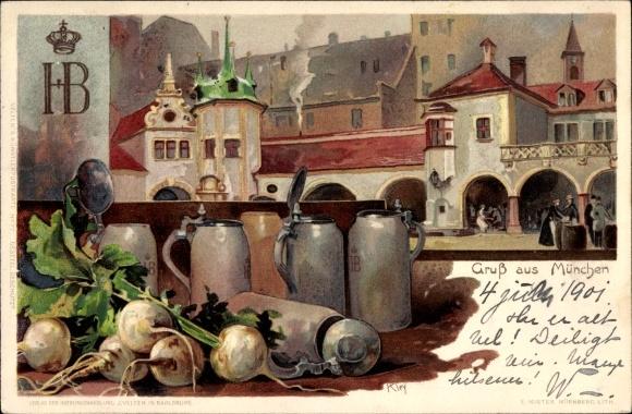 Künstler Litho Kley, Heinrich, München Bayern, Hofbräuhaus, Bierkrüge, Rettiche