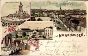Litho Nordhausen in Thüringen, Kaiser Wilhelm Denkmal, Bahnhofsrestaurant II. Klasse, Bahnhof