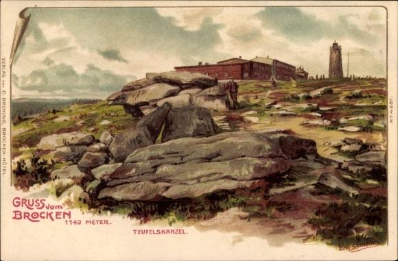 Künstler Litho Spindler, Erwin, Brocken Nationalpark Harz, Teufelskanzel und Aussichtsturm