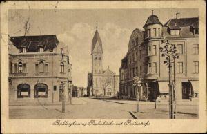 Ak Recklinghausen im Ruhrgebiet, Pauluskirche mit Paulusstraße, Geschäfte