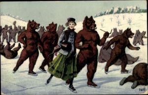Künstler Ak Bären laufen mit einer Dame Schlittschuh auf einem See