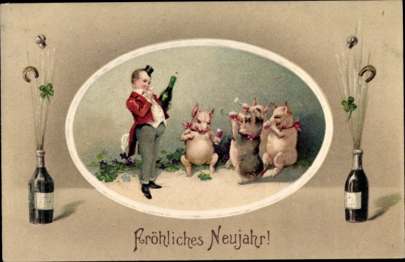 Präge Ak Glückwunsch Neujahr, Schweine trinken Sekt