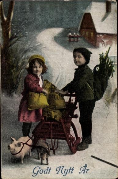 Ak Glückwunsch Neujahr, Schlitten, Schweine, Kinder, Geldsäcke