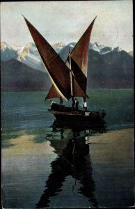 Ak Barke auf dem Genfer See, Fischerboot