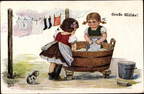 Künstler Ak Scheuermann, Willi, Große Wäsche, Mädchen am Waschzuber