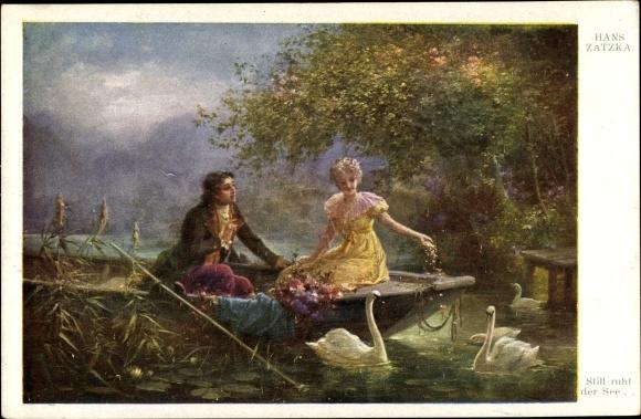 Künstler Ak Zatzka, Hans, Still ruht der See, Ruderboot, Schwäne