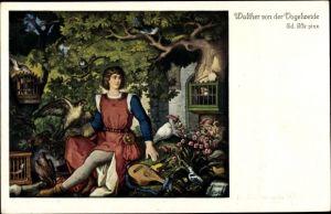 Künstler Ak Ille, Ed., Walther von der Vogelweide, Vogelherd
