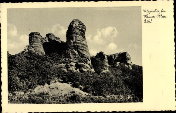 Ak Hausen Blens im Kreis Düren, Felspartien in der Eifel