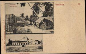 Ak Zanzibar Sansibar Tansania, N'Gambo, Native huts, British Consulate