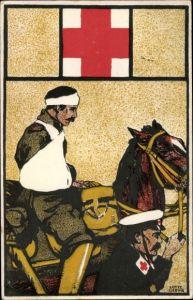 Künstler Ak Deutsches Rotes Kreuz, Verwundeter Soldat auf einem Pferd
