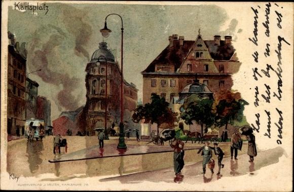 Künstler Litho Kley, heinrich, München Bayern, Partie am Karlsplatz, Passanten mit Regenschirmen