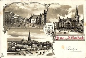 Wappen Litho Mönchengladbach in Nordrhein Westfalen, Marktplatz, Kirche, Stadtpanorama