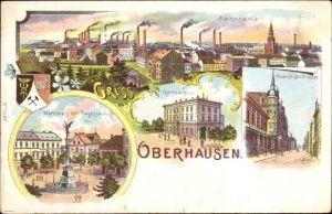 Wappen Litho Oberhausen im Ruhrgebiet, Marktplatz, Siegessäule, Rathaus, Friedrich Karl Straße