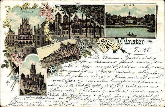 Litho Münster in Westfalen, Rathaus, Dom, Schloss, Bogenhäuser