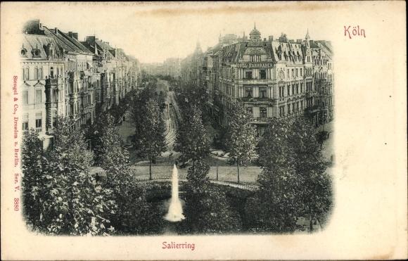Relief Ak Köln am Rhein, Blick auf den Salierring, Fontaine