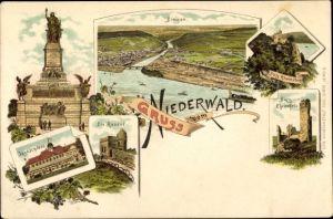 Ak Rüdesheim am Rhein in Hessen, Niederwalddenkmal, Bingen, Burg Ehrenfels, Jagdschloss, Die Rossel