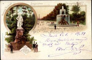 Litho Berlin, Stadtansichten, Lessing Denkmal, Siegesallee, Wrangelbrunnen