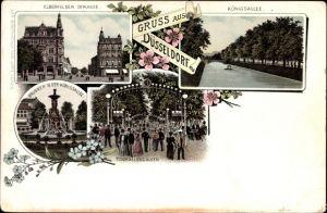 Litho Düsseldorf am Rhein, Elberfelder Str., Königsallee, Tonhallengarten, Brunnen i. d. Königsallee