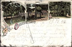 Litho Oberneuland Bremen, Plates Gartenlokal, Plates Wirtschaft, Plates Gehölz