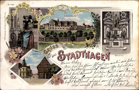 Litho Stadthagen im Kreis Schaumburg, Schaumburger Tracht, Spinnrad, Mausoleum