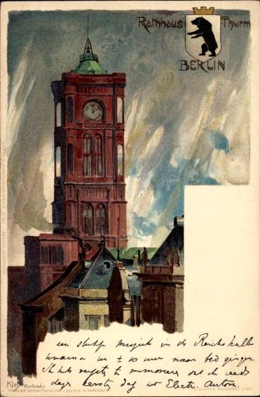 Künstler Litho Kley, Heinrich, Blick auf den Rathausturm, Wappen