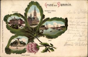 Kleeblatt Litho Demmin in Vorpommern, Knabenschule, Kriegerdenkmal, Hafen