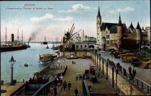 Ak Antwerpen Anvers Flandern, L'Embarcadere, l'Escaut et Musee du Steen