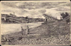 Ak Hrodna Grodno Weißrussland, Die zersprengte Stadtbrücke, Kriegszerstörungen, I. WK, Soldaten