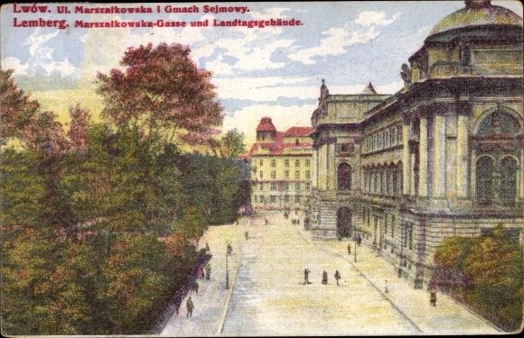 Künstler Ak Lwów Lemberg Ukraine, Marszalkowska Gasse und Landtagsgebäude