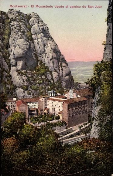 Ak Berg Montserrat Katalonien, El Monasterio desde el camino de San Juan