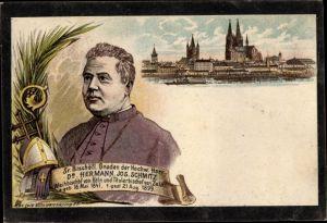 Litho Köln am Rhein, Bischof Dr. Hermann Jos. Schmitz von Köln und Zela