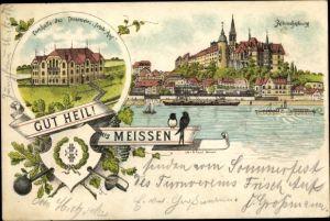 Litho Meißen in Sachsen, Turnverein Frisch Auf, Turnhalle, Albrechtsburg