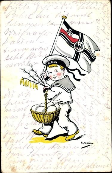Künstler Ak Kaskeline, F., Junge in Matrosenuniform, SMS Emden, Fahne, Ostereier