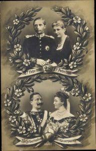 Passepartout Ak Zur Silberhochzeit des Kaiserpaares 1906, Kaiser Wilhelm II., Auguste Viktoria