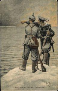 Künstler Ak Thiele, Arthur, Zwei Seelen und ein Gedanke, Seemann, Soldat