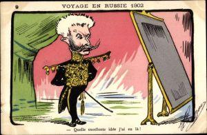 Künstler Ak Voyage en Russie 1902, Zar Nikolaus II. von Russland, Französisch Russische Allianz