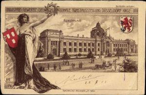 Wappen Litho Düsseldorf am Rhein, Deutsch Nationale Kunstausstellung 1902, Kunstpalast