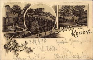Litho Sobieszów Hermsdorf Kynast Riesengebirge Schlesien, Ruine Kynast