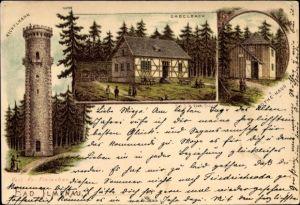Litho Gabelbach Ilmenau im Ilm Kreis Thüringen, Kickelhahn, Gabelbach, Göthe Haus