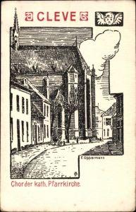 Künstler Ak Oppermann, F., Kleve am Niederrhein, Blick auf Chor der Kath. Pfarrkirche
