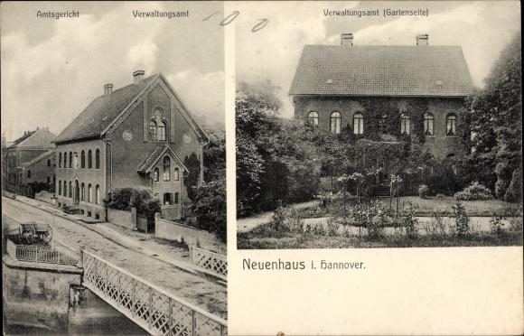 Ak Neuenhaus Niedersachsen, Amtsgericht, Verwaltungsamt, Gartenseite