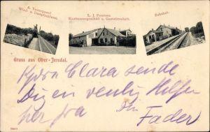 Ak Oberjersdal Dänemark, Windmühle von A. Vestergaard, Gastwirtschaft von L. J. Petersen, Bahnhof