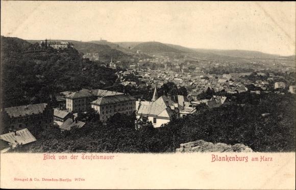 Ak Blankenburg am Harz, Blick von der Teufelsmauer