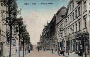 Ak Hagen in Westfalen Ruhrgebiet, Bahnhofstraße, Automat, Cigarren Import W. Bauer