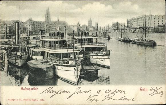 Ak Köln am Rhein, Partie am Hafen, Boote