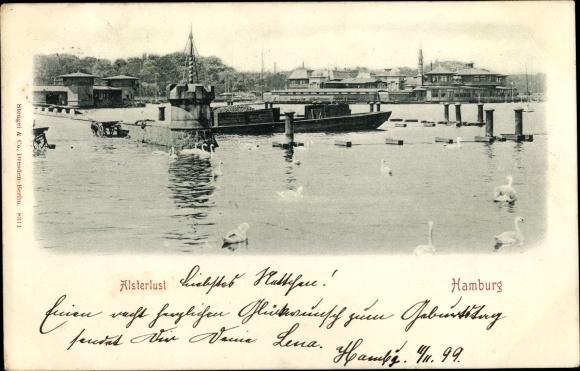 Ak Hamburg Nord Uhlenhorst, Blick vom Wasser aus zur Alsterlust